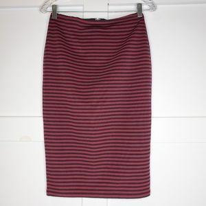 Forever 21 Black Red Stretch Pencil Skirt Medium